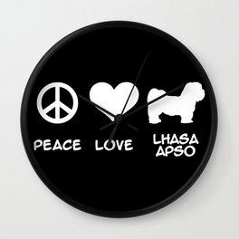 Peace, Love, Lhasa Apso Wall Clock