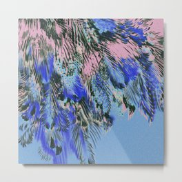 feather texture in blue and light pink Metal Print