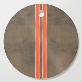 Vintage Hipster Retro Design - Brown Leather with Gold and Orange Stripes Cutting Board