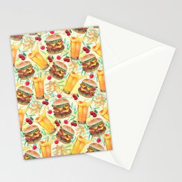 burgers, juices & fries Stationery Cards