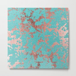 Modern turquoise glitter faux rose gold marble Metal Print