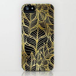 Glamorous and Glitzy Art Deco Gold Leaf Pattern iPhone Case