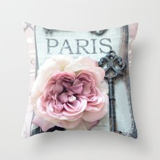 Paris Roses Skeleton Key Art  Throw Pillow