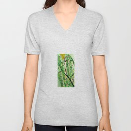 Colorful Abstract Tree Acrylic Painting Art  by Saribelle Rodriguez Unisex V-Neck