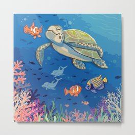 Under the Sea and Above the Coral Metal Print
