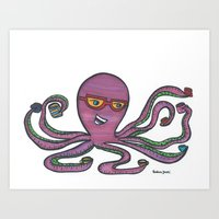 Coffee Octopus (Because Sometimes, One Cuppa Joe Isn't Enough) Art Print