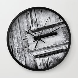 Letterbox close-up in a Old Wooden Door | Doors of the World | Rethymnon, Greece, Europe | Black & White Photography | Travel Photography | Photo Print | Art Print Wall Clock