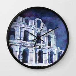 Roman Coliseum in the city of El-Djem, Tunisia.  Watercolor painting of Roman Coliseum Wall Clock