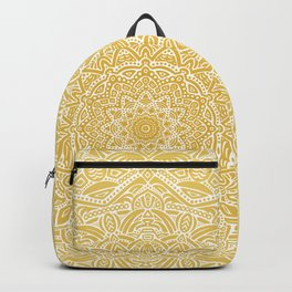 Most Detailed Mandala! Yellow Golden Color Intricate Detail Ethnic Mandalas Zentangle Maze Pattern Backpack