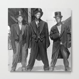 African American Teenagers with Tuxedos & Top-Hats During The August, 1943 Riots In Harlem portrait Metal Print