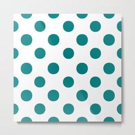 Polka Dots (Teal/White) Metal Print