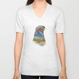 Pheasant by Irfhan Mirza Unisex V-Neck