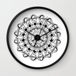 Delicate black mandala on white Wall Clock