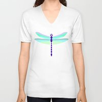 dragonfly V-neck T-shirts featuring Dragonfly by tuditees