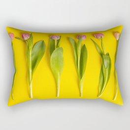 Pink tulips on yellow background, flat lay Rectangular Pillow
