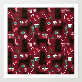 Boykin Spaniel christmas pattern dog breed presents stockings candy canes Art Print