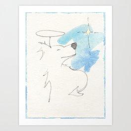 Zen Dog Angel Devil Blue and White Minimalist Gesture Drawing Painting Art Print