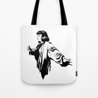 mia wallace Tote Bags featuring Mia Wallace by El Kane