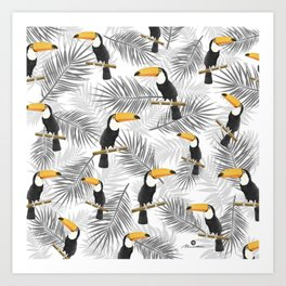 Toucan with palm leaves Art Print