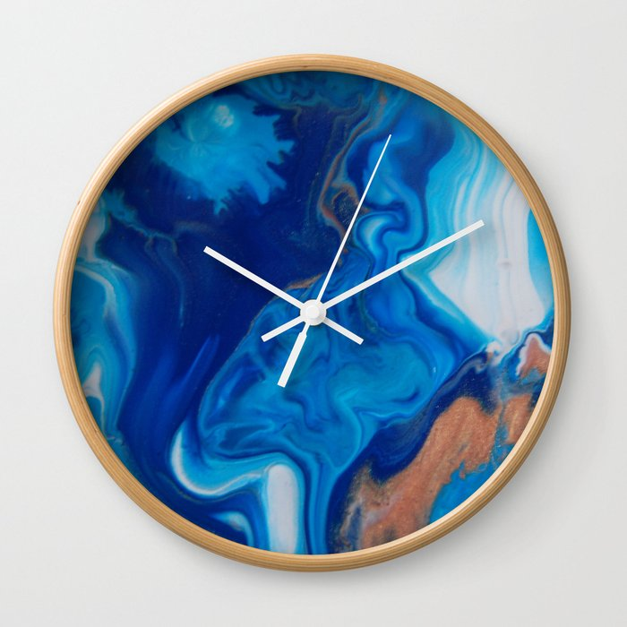 Fluid Nature Blue Smoke Abstract Acylic Pour Art Wall Clock By Fluidnature
