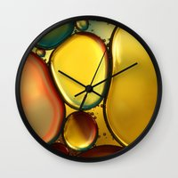 oil Wall Clocks featuring Oil & Water Abstract II by Sharon Johnstone
