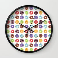 doughnut Wall Clocks featuring Doughnut delights by Phibbit