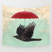 magritte Wall Tapestries featuring Raven Cover by Vin Zzep
