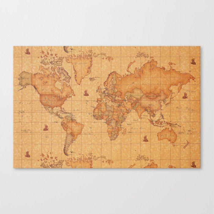 World map leather canvas print by 1chrisafia society6 world map leather canvas print gumiabroncs Images