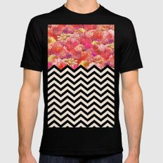 Chevron Flora MEDIUM Mens Fitted Tee Black