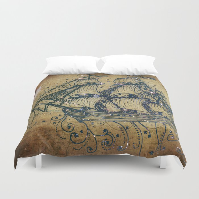 The Great Sky Ship Duvet Cover