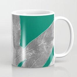 Christmas Fern, Holiday Green with Silver Winter Leaf Coffee Mug