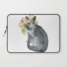 cat with flower crown Laptop Sleeve