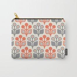 Mid Century Garden Flower Pattern Orange Grey Carry-All Pouch