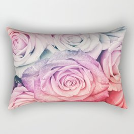 Some people grumble II  Floral rose flowers pink and multicolor Rectangular Pillow