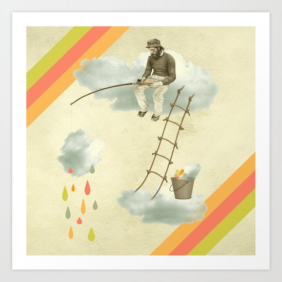 The fisherman who was cleaning the sky from the clouds Art Print