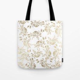 Vintage white faux gold roses floral Tote Bag