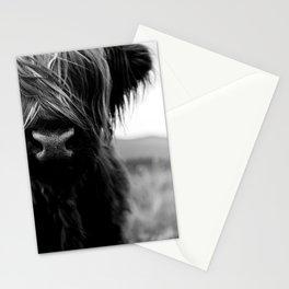 Scottish Highland Cattle Baby - Black and White Animal Photography Stationery Cards