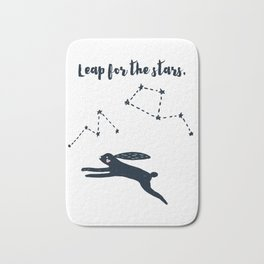 Leap for the Stars - Black Rabbit Bath Mat