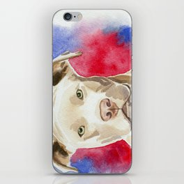 Pitbull Watercolor Painting iPhone Skin