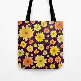 Yellow dots, Yellow Flower, Floral Pattern, Yellow Blossom Tote Bag