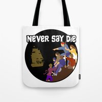 goonies Tote Bags featuring Goonies Never Say Die by Darth Paul