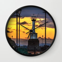 Maryport Lighthouse At Sunset Wall Clock