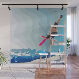 Men jumps with skies on piste with mountains and sky background Wall Mural