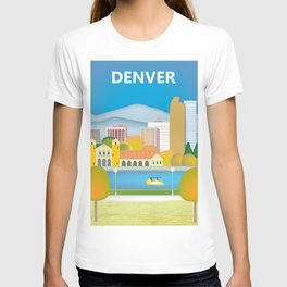 Denver, Colorado - Skyline Illustration by Loose Petals T-shirt