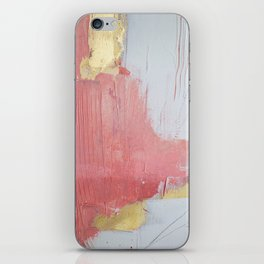 Melody: a pretty minimal abstract painting in gold pink and white by Alyssa Hamilton Art iPhone Skin