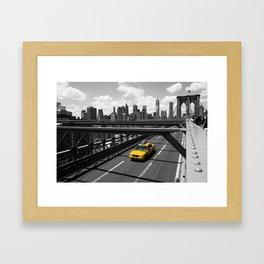 Yellow Cab on Brooklyn Bridge Framed Art Print