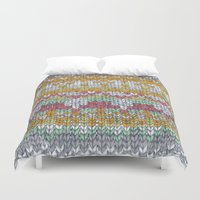 knitting Duvet Covers featuring KNITTING #3 by NADEZDA FAVA