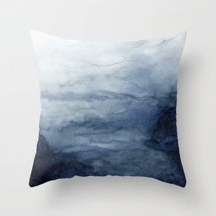 Indigo Abstract Painting   No.2 Throw Pillow