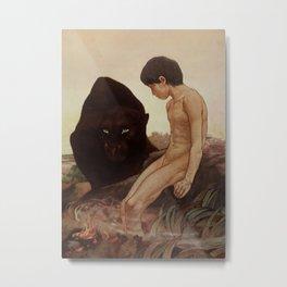 """Bagheera and Mowgli"" by Charles Ditmold from Kipling's Tale Metal Print"