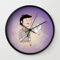 hedwig Wall Clocks featuring Magical friends by HypersVE